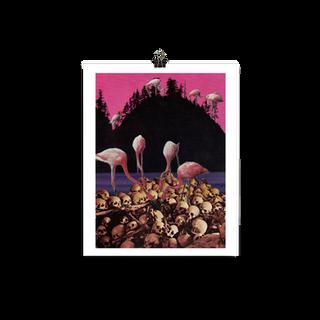 flamingo feeding print