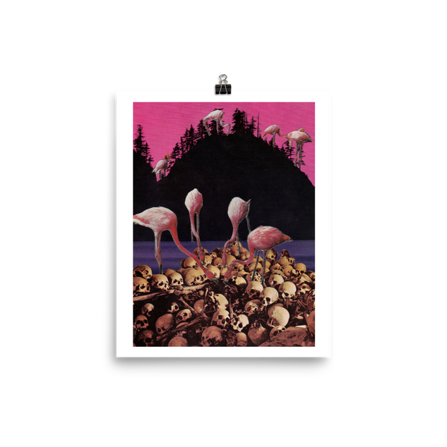 flamingo feeding print