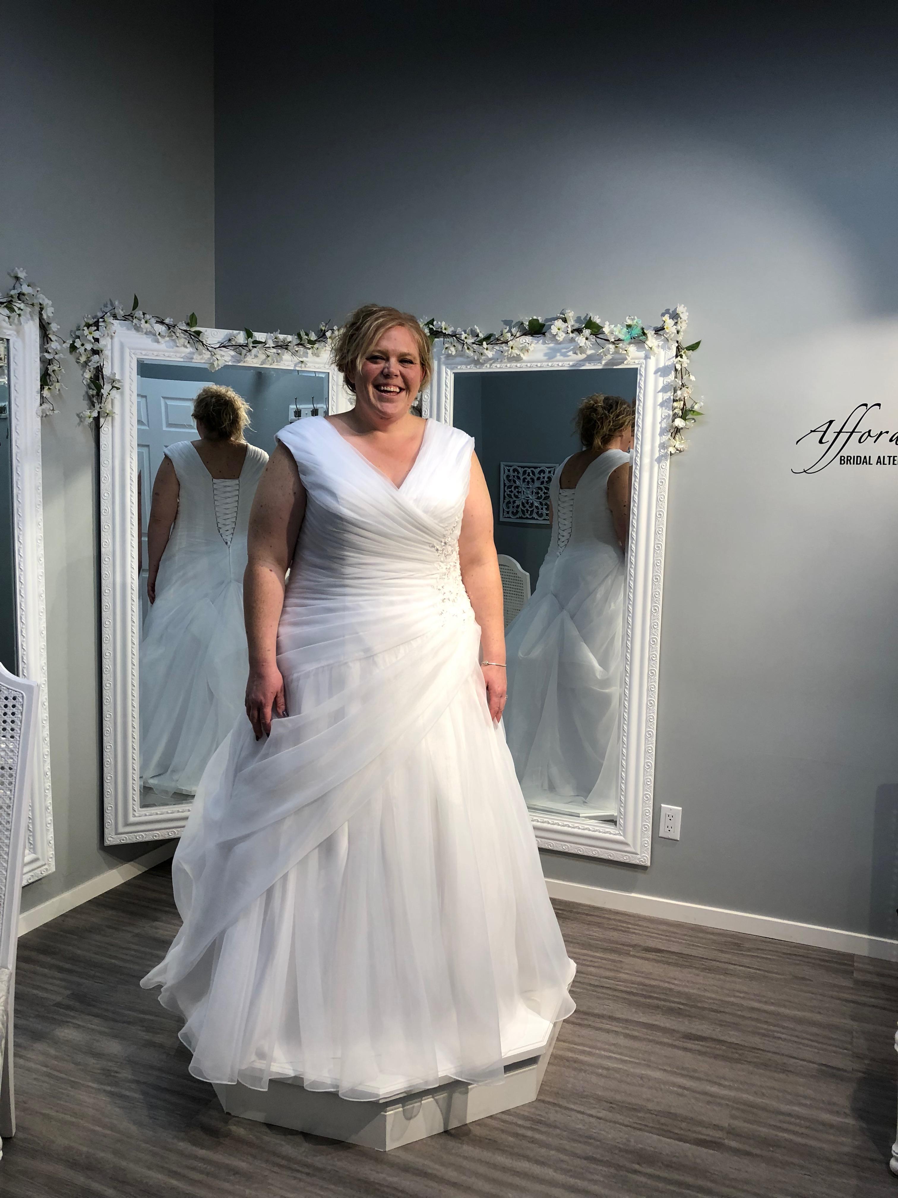 organza white wedding gown