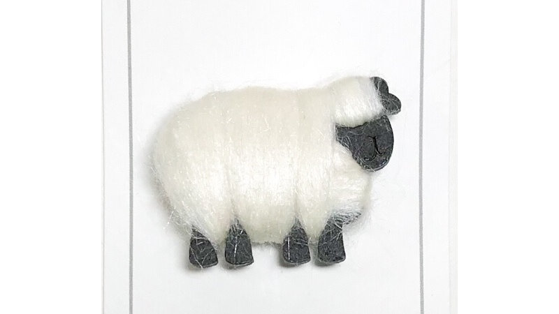Woolly Sheep Brooch White Black Faced