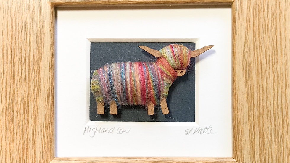 Wool Wrapped Highland Cow Mini Boxed Pictures