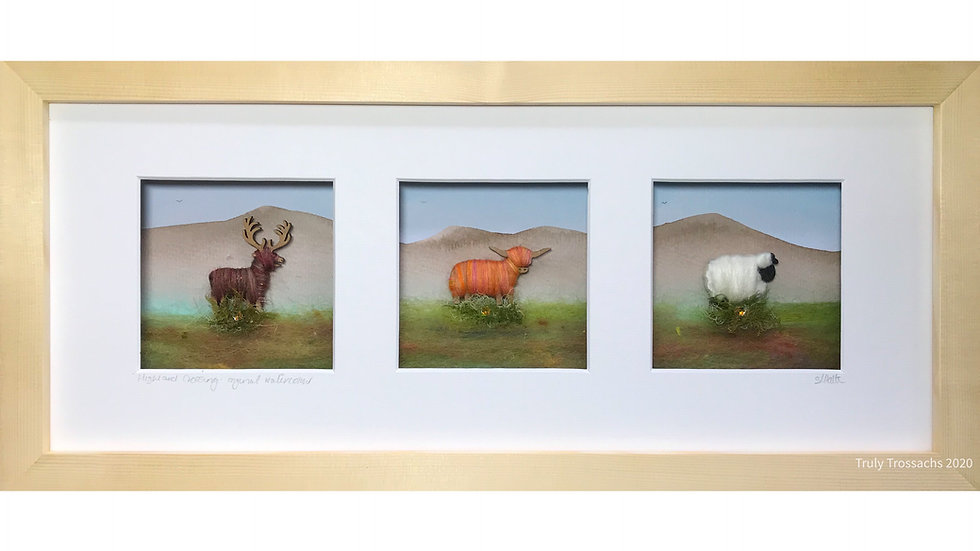 Long Triple Window Boxed Picture Stag, Highland Cow & Woolly Sheep