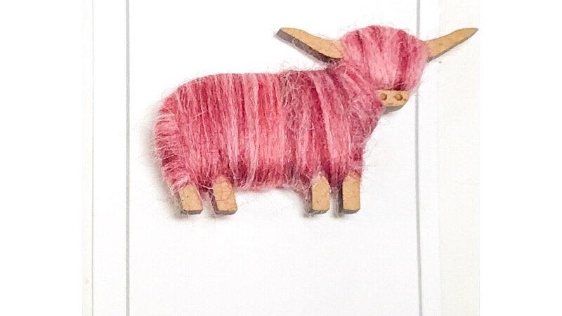 Highland Cow Brooch Pink Blends