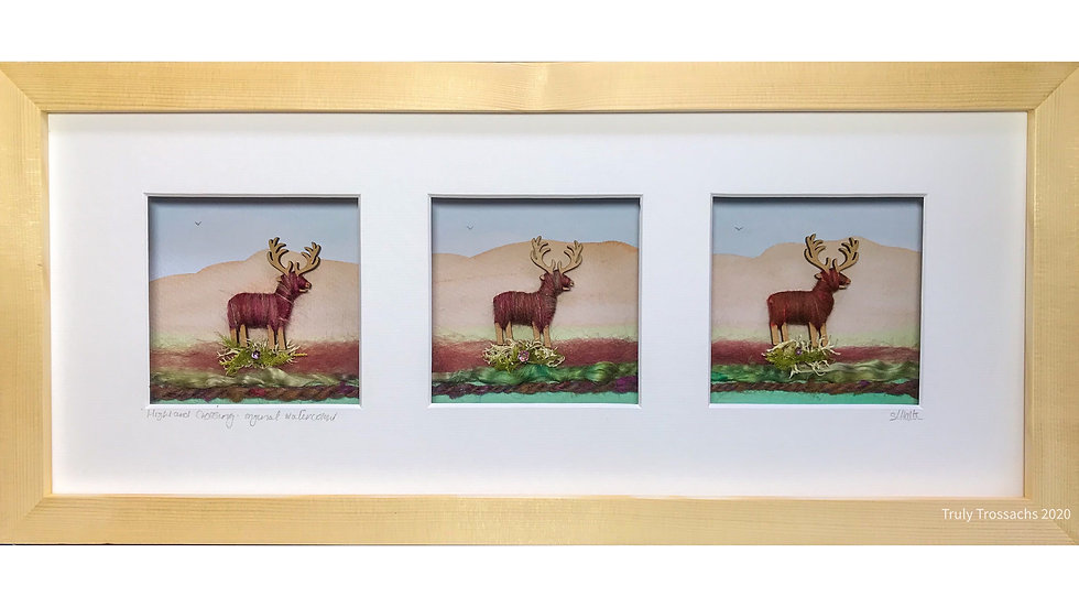 Long Triple Window Boxed Picture Stags