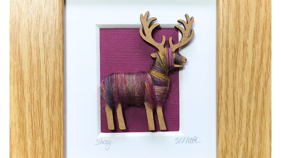 Wool Wrapped Stag Mini Boxed Pictures