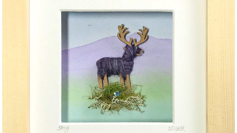 Small Boxed Picture Stag