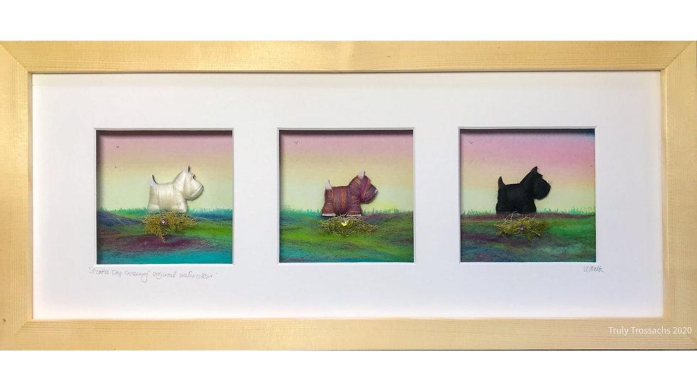 Long Triple Window Boxed Picture Scottie Dogs