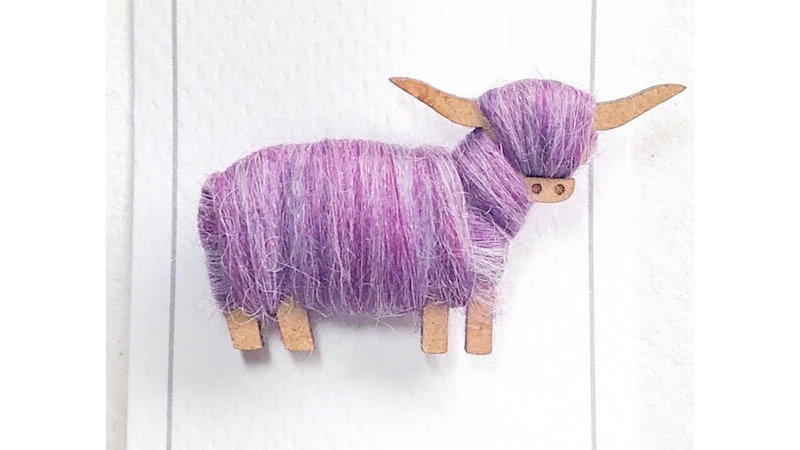 Highland Cow Brooch Purple Blends