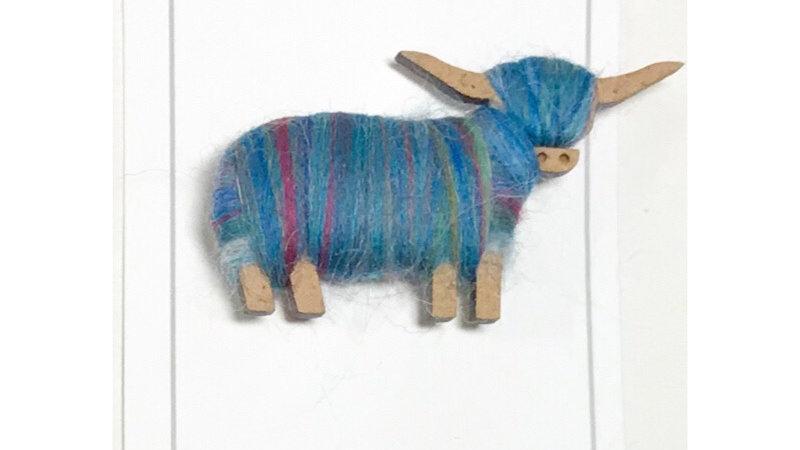 Highland Cow Brooch Blue Green Blends