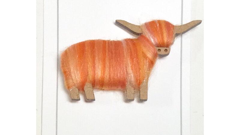 Highland Cow Brooch Orange  Blends