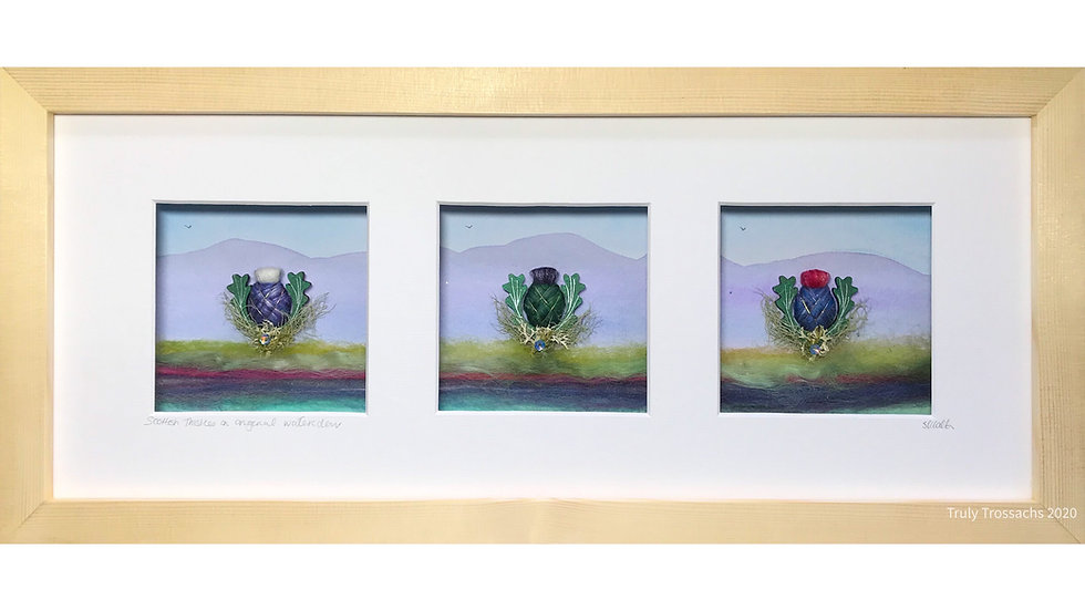 Long Triple Window Boxed Picture Scottish Thistle