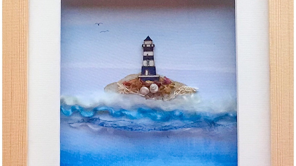 Medium Boxed Picture Blue Lighthouse