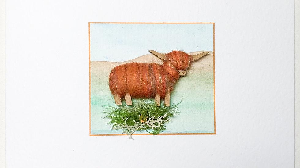 Card/Brooch Card Highland Cow