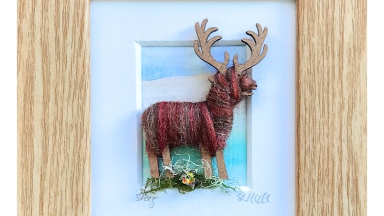 Wool Wrapped Stag Watercolour Mini Boxed Pictures