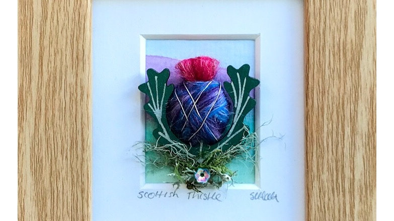 Wool Wrapped Scottish Thistle Watercolour Mini Boxed Pictures