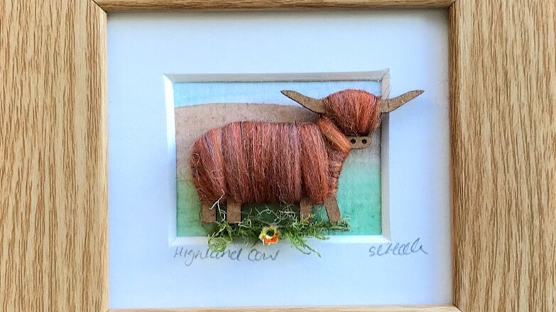 Wool Wrapped Highland Cow Watercolour Mini Boxed Pictures