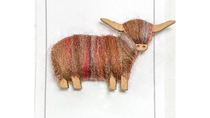 Highland Cow Brooch Natural Blends