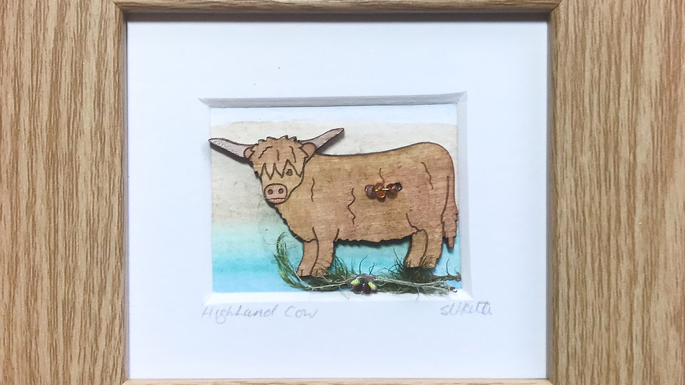 Wooden Highland Cow Mini Boxed Picture