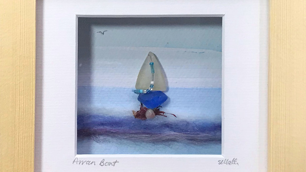 Small Boxed Picture Glass Boat