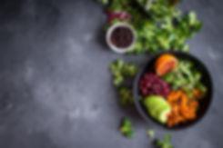 Fresh quinoa organic vegetables salad in