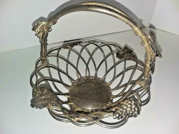 Vintage GODINGER Silver Plated  Grape Basket Wedding