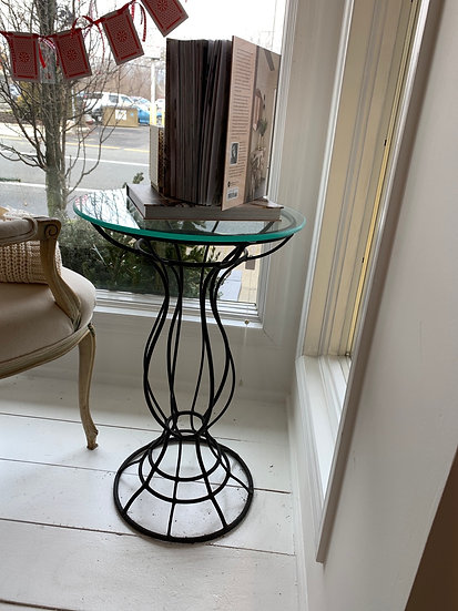 Table made out of vintage bird bath