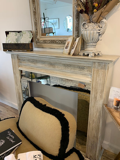 Painted and  updated antique mirror on Antique mantel