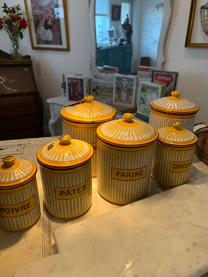 Antique  1930-30's French enamel canisters