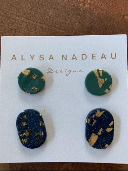 Two-Pack  Hand Painted Stud Earrings