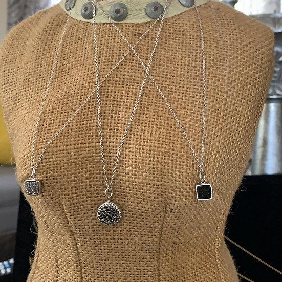 Druzy necklaces on silver