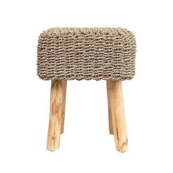 Square hemp stool mango wood legs