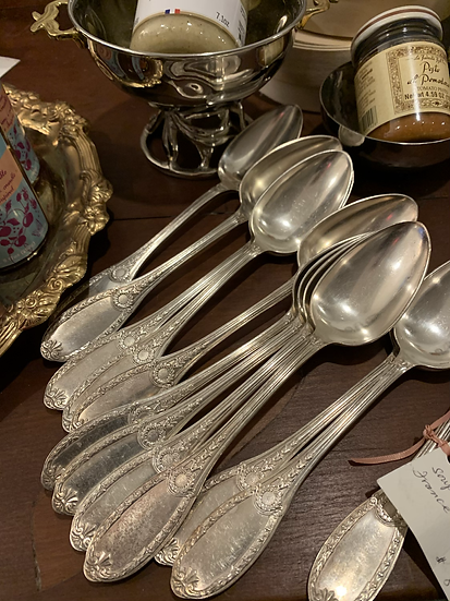 12 silver plated French soup spoons