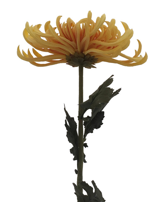 Silk flower fuji mum spray 30 yellow green home decor by tpt this is a realistic real touch natural touch artificial silk flower stem with 4 green leaves total length 30 inch mightylinksfo Choice Image