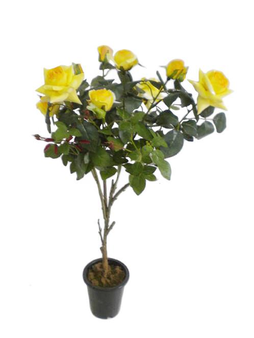 Silk flowers rose tree in a pot 36 yellow mightylinksfo