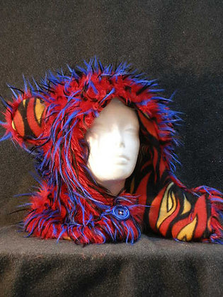 Red, Blue & Black Wisps with Flame Fleece