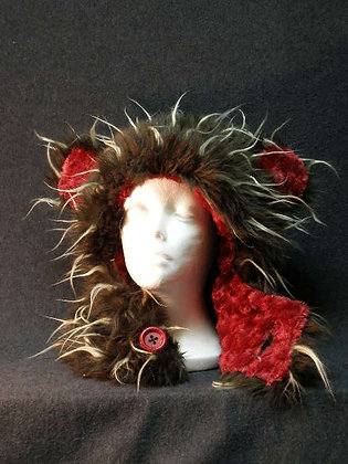 Brown & Beige Wisps with Red Swirl