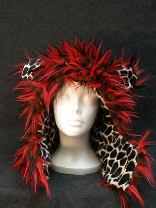 Brown, Red & Black Wisps with Giraffe Fleece