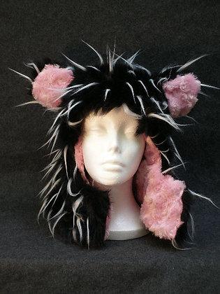 Black & White Wisps with Pink Swirl