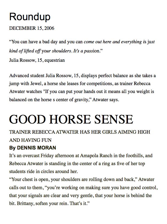 Good Horse Sense Page 1