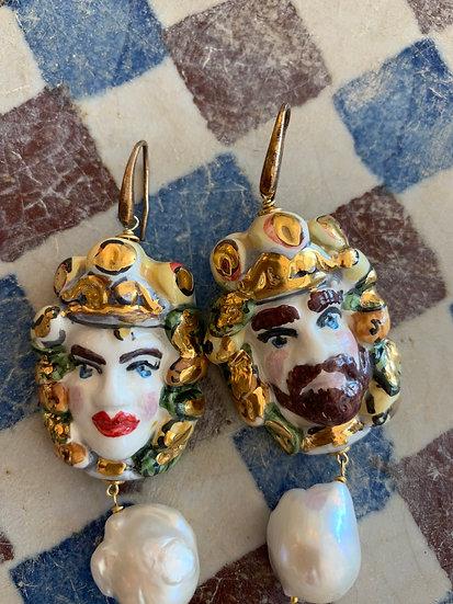 Orecchini Nobili siciliani ceramica Caltagirone