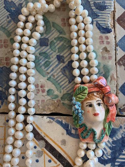Collana perle cameo ceramica siciliana