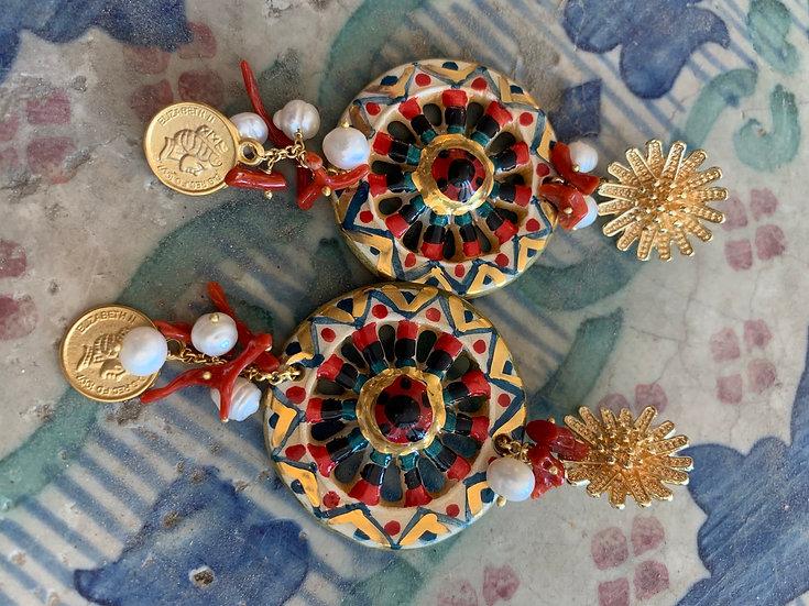 Orecchini Caltagirone ceramica siciliana