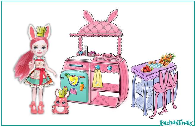 Enchantimals Kitchen Fun Playset + Bree Bunny Doll & Twist Figure