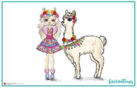 Enchantimals Lluella Llama Doll & Fleecy
