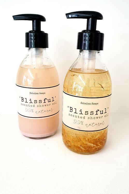 'Blissful scented shower oil' glazen fles