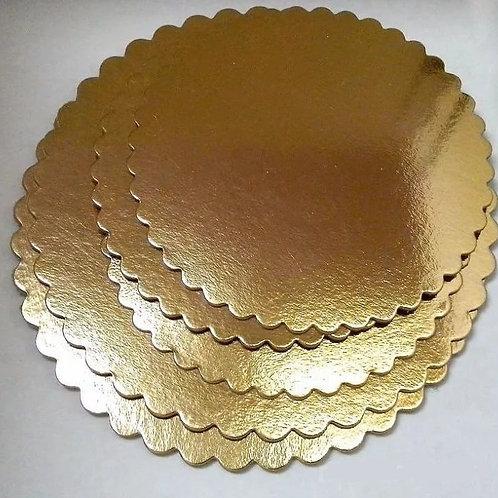 Подложка картон d340 мм золото/черный