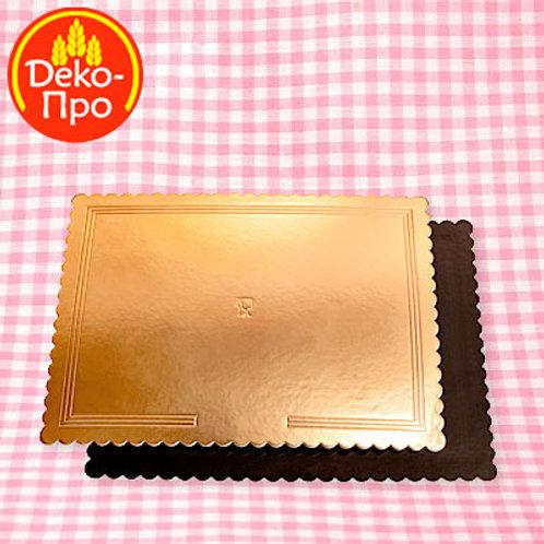 Подложка картон 300*400 мм золото/черный