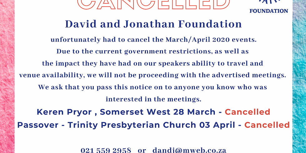 D&J events cancelled for March and April