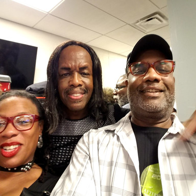 Backstage with Verdine White of Earth Wind and Fire, and my SMOKIN HOT wife.