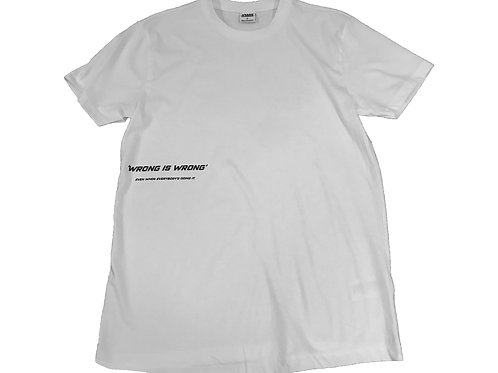 'WRONG IS WRONG' white t-shirt